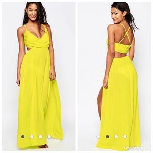 NWT ASOS Washed Satin Wrap Maxi Beach Dress Size 0